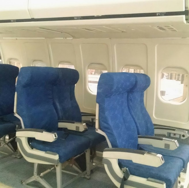 RJR Props - Airplane Seats - Vintage Seats - Blue Fabric