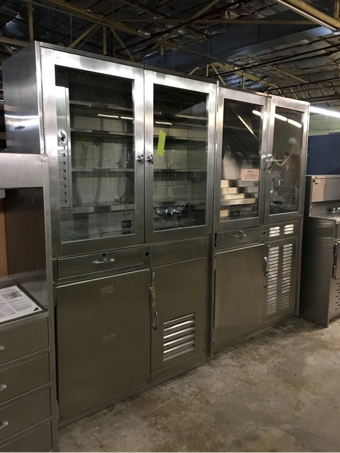 stainless steel cabinet props with glass doors