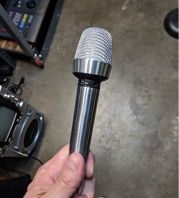 vintage microphone - silver with square top.