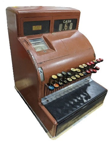 rjr props - vintage cash register prop - brown 1960s